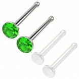 4pc 18g 1mm Nose Stud Bone Straight Bar Nostril Ring Surgical Steel 2.5mm Crystal Peridot Bioflex Stud 20g 0.8mm Retainer
