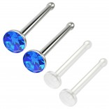 4pc 18g 1mm Nose Stud Bone Straight Bar Nostril Ring Surgical Steel 2.5mm Crystal Sapphire Bioflex Stud 20g 0.8mm Retainer