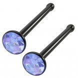 2pc 18g Straight CZ Nose Bone Studs 2mm crystal Light Sapphire Blue Black Surgical Steel Jewelry