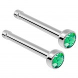 2pc Surgical Steel Guage Nose Stud Ring 18g 1mm Flesh Nostril Straight Pin Crystal Piercing Jewelry Emerald