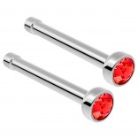2pc Surgical Steel Guage Nose Stud Ring 18g 1mm Flesh Nostril Straight Pin Crystal Piercing Jewelry Light Siam