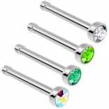 2pc Surgical Steel Guage Nose Stud Ring 18g 1mm Flesh Nostril Straight Pin Crystal Piercing Jewelry - AB Aurora Borealis Emerald Peridot CZ