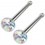 2pc 20g Surgical Stainless Steel Nose Bone Flat crystal AB Aurora Borealis Straight Pin Bar Stud