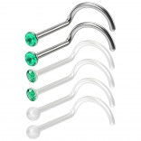 6pc 20g 0.8mm Small Nose Scew Rings Bioflex & 316LVM Surgical Steel Studs 2.5mm CZ Emerald Clear Invisible Retainer