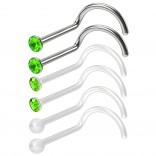 6pc 20g 0.8mm Small Nose Scew Rings Bioflex & 316LVM Surgical Steel Studs 2.5mm CZ Peridot Clear Invisible Retainer