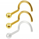 2pc 20g 2mm Nose Screw Gold Stainless Steel Twist Corkscrew Nostril Stud Ring Ball + Clear Retainer