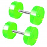 2pc 2 Guage Green Cheater Plugs 2g Fake Stretched Ears 16g Illusion Earrings For Women 8mm Piercing Jewelry