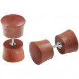 2pc 16g Fake Gauge Earrings Sawo Wood Illusion Plugs Cheater Stud Surgical Steel Bar Piercing 0g 8mm