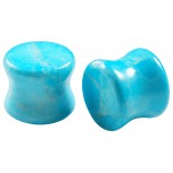 2pc Organic Turquoise Stone Double Flared Saddle Plug 1/2 Inch (12mm) Gauge Earring Tunnel Ear Lobe Stretcher Piercing Jewelry