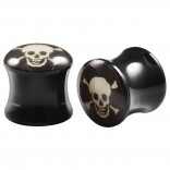 2pc Double Flared 3/8 Plugs Ear Gauges Skull Acrylic Unisex Earrings Stretcher Flesh Expander