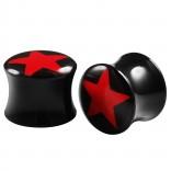 2pc Double Flared 1/2 Plugs Ear Gauges Star Acrylic Unisex Earrings Stretcher Flesh Expander
