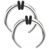 2pc Septum Pincher Buffalo Taper Horseshoe Steel Double Rubber O-Rings Crescent C-Shape Tapers 14g