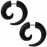 2pc Fake Gauges Spiral For Women Men Faux Taper Earrings Snail Ear Plugs Hangers Cheater Illusion 2g