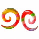 2pc 2g Rainbow Spiral Guages Ear Stretching Plugs For Ears Earrings Taper Spirals Curl Flesh Piercing Jewelry