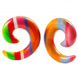 2pc  Rainbow Spiral Guages Ear Stretching Plugs For Ears Earrings Taper Spirals Curl Flesh Piercing Jewelry