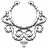 16g Septum Nose Ring 5/16 Piercing Jewelry Nose Hoop Nostril Brass Rhodium-Plated 8mm Faux Boho Cool