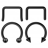 4pc 10mm Black Anodized Surgical Steel 14g Septum Ring Horseshoe Retainer Piercing Jewelry Tragus Eyebrow 3mm Ball Spike
