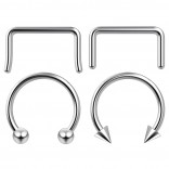 4pc 12mm Steel Anodized Surgical Steel 14g Septum Ring Horseshoe Retainer Piercing Jewelry Tragus Eyebrow 3mm Ball Spike