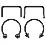 4pc 12mm Black Anodized Surgical Steel 16g Septum Ring Horseshoe Retainer Piercing Jewelry Tragus Eyebrow 3mm Ball Spike