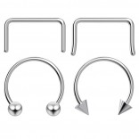 4pc 12mm Steel Anodized Surgical Steel 16g Septum Ring Horseshoe Retainer Piercing Jewelry Tragus Eyebrow 3mm Ball Spike