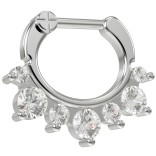 16g Crystal Septum Clicker Nose Ring 316L Surgical Steel 6mm Closure Bar With CZ Crystals