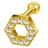 16g Hexagon Helix Cartilage Earring Piercing Tragus Stud CZ Crystal Surgical Steel Jewelry Gold