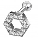 16g Hexagon Helix Cartilage Earring Piercing Tragus Stud Crystal Surgical Steel Jewelry
