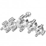 16g 5-Star Cartilage Helix Earring Piercing Tragus Stud 6mm 1/4 Crystal Cute Surgical Steel Jewelry