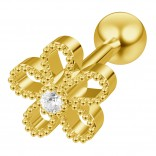 16g Cartilage Flower Helix Earring Piercing Tragus Stud crystal Surgical Steel Jewelry Gold 6mm