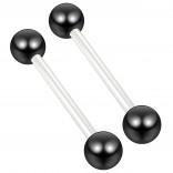 2pc 14g 1.6mm Flexible Tongue Rings Bioflex 16mm 5/8 Bioplast Barbell Ring Black Anodized Ball