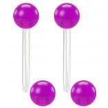 2pc 14g 1.6mm Flexible Tongue Rings Bioflex 14mm 9/16 Bioplast Barbell Ring Purple Acrylic Ball
