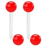 2pc 14g 1.6mm Flexible Tongue Rings Bioflex 14mm 9/16 Bioplast Barbell Ring Red Acrylic Ball