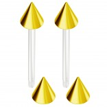 2pc 14g 1.6mm Flexible Tongue Rings Bioflex 14mm 9/16 Bioplast Barbell Ring Gold Anodized Spike
