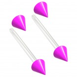 2pc 14g 1.6mm Flexible Tongue Rings Bioflex 14mm 9/16 Bioplast Barbell Ring Purple Spike Acrylic
