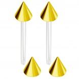 2pc 14g 1.6mm Flexible Tongue Rings Bioflex 14mm 16mm 19mm Bioplast Barbell Ring  Anodized Spike