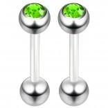 2pc 14g 1.6mm Flexible Tongue Rings Bioflex 14mm 9/16 Bioplast Barbell Ring Peridot CZ