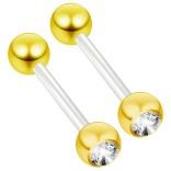 2pc 14g 1.6mm Flexible Tongue Rings Bioflex 14mm 9/16 Bioplast Barbell Ring Gold Cubic Zirconia