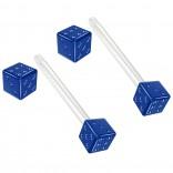 2pc 14g 1.6mm Flexible Tongue Rings Bioflex 14mm 9/16 Bioplast Barbell Ring Blue Anodized Dice