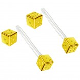 2pc 14g 1.6mm Flexible Tongue Rings Bioflex 14mm 9/16 Bioplast Barbell Ring Gold Anodized Dice