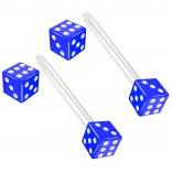 2pc 14g 1.6mm Flexible Tongue Rings Bioflex 14mm 9/16 Bioplast Barbell Ring Blue Acrylic Dice