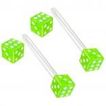 2pc 14g 1.6mm Flexible Tongue Rings Bioflex 14mm 9/16 Bioplast Barbell Ring Green Acrylic Dice