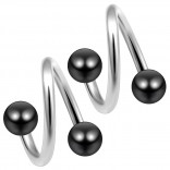 14g 14 Gauge 1.6mm Twisted Barbell Surgical Steel Eyebrow Twist Lip Navel Bars Ear Tragus Twister Earring Spiral 4mm Balls 10mm Black