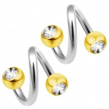 14g 14 Gauge 1.6mm Twisted Barbell CZ Surgical Steel Eyebrow Twist Lip Navel Bars Ear Tragus Twister Earring Spiral 4mm Gold Balls