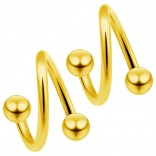 2pc Gold 16g Surgical Steel Twisted Barbell 4mm Ball Spiral Cartilage Earrings Lip Tragus Eyebrow Hoop Helix - 10mm