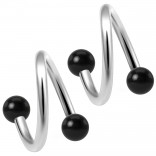 2pc Twisted Barbell 16 Gauge Piercing Earrings Helix Cartilage Twist 316LVM Surgical Steel Daith Spiral Belly Button Ring Navel Twister Body Jewelry 3mm Black Acrylic Ball 10mm