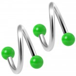 2pc Twisted Barbell 16 Gauge Piercing Earrings Helix Cartilage Twist 316LVM Surgical Steel Daith Spiral Belly Button Ring Navel Twister Body Jewelry 3mm Green Acrylic Ball 10mm