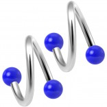 2pc Twisted Barbell 16 Gauge Piercing Earrings Helix Cartilage Twist 316LVM Surgical Steel Daith Spiral Belly Button Ring Navel Twister Body Jewelry 3mm Blue Acrylic Ball 8mm