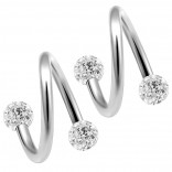2pc 316LVM Surgical Steel Twisted Barbell 16 Gauge 3mm Crystal Ball Cartilage Labret Piercing 5/16 8mm CZ Cubic Zirconia
