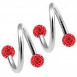 2pc 316LVM Surgical Steel Twisted Barbell 16 Gauge 3mm Crystal Ball Cartilage Labret Piercing 5/16 8mm Light Siam