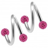 2pc 316LVM Surgical Steel Twisted Barbell 16 Gauge 3mm Crystal Ball Cartilage Labret Piercing 5/16 8mm Rose